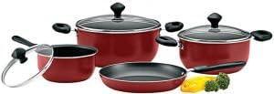 طقم ادوات مطبخ من الالمنيوم مقاومة للالتصاق من 7 قطع، احمر، من بريستيج - PR21568