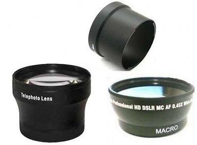 Wide Lens + Tele Lens + Tube Bundle For Olympus SP-550, Olympus SP-560, Olympus SP-565 SP-570 UZ