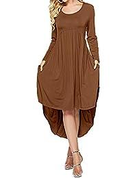 6623b2f75f04 Fellissy Damen Kleider Tshirt Kleid Casual Blusenkleider Rundhals Langarm  locker Strandkleid Hemdkleider für Arbeit und Freizeit