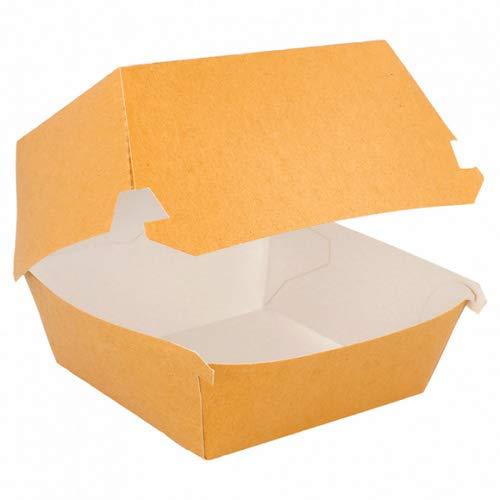 Extiff – Lotto di 50 scatole da Hamburger Marrone/scatole Grandi e Alte in Cartone Riciclato, 15,5 x 14,5 x 9,5 cm