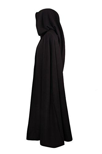 Mittelalterlicher Kapuzenumhang – wärmend – schwarz – 130cm - 2