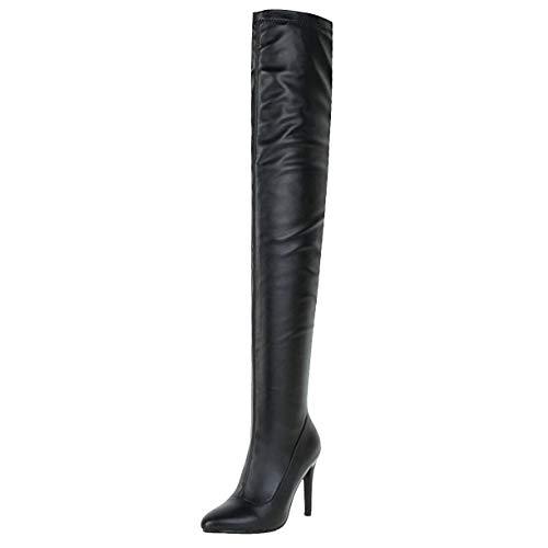 JYshoes Overknee Stiletto Stiefel Stretch Stiefel mit 10cm Absatz High Heels Winter Warm Boots Party Schuhe Damen Schwarz 41EU - Stretch High Heel Boot