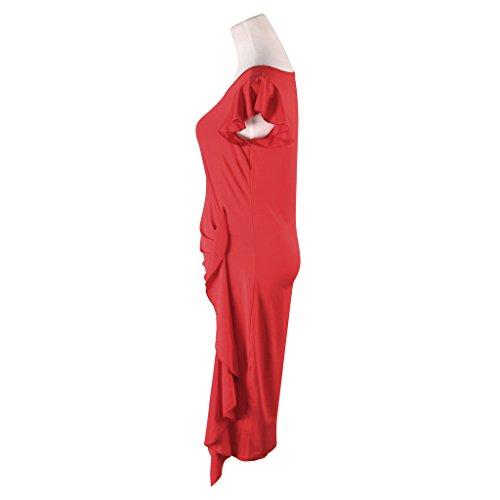 JNTworld Frauen OL kurzen Ärmeln Solid Color Side Jersey Krause Bleistift Kleid Rot