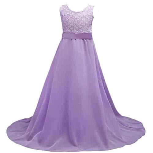 FuweiEncore Mädchen Spitzenkleid Chiffon Kleid Kleid bodenlangen Kleid Hochzeit Brautjungfer Blumenmädchen langes Kleid (Farbe : Lila, Größe : 170) - Chiffon Kleid Bodenlangen Mädchen