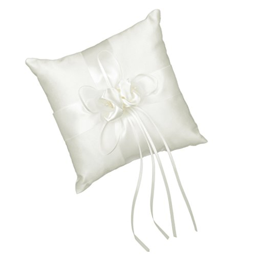 Schoene Elfenbein Knospe Blume Hochzeit Ringkissen 20cmx20cm