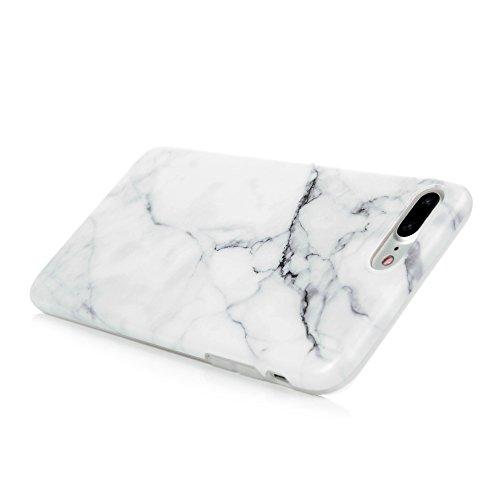 Badalink Hülle für iPhone 7 Plus Marmor TPU Case [3 Packs] Cover Ultraslim Handyhülle Schutzhülle Silikon Bumper Schutz Tasche Bright Marble Schale Antikratz Backcover mit IMD Technologie in Dunkelgrü Grau Weiß