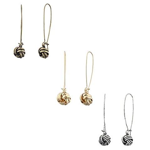 Lux Accessoires Tri couleur Amour noeud Boucles d'oreilles pendantes multi Lot de (Lot de 3)