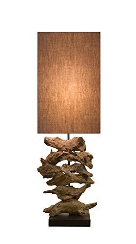 Holz Lampe Oragon Wurzelholz Handarbeit mit Baumwoll Schirm braun massiv ca. 20 x 20 x 72 cm nachhaltig Tischleuchte Tischlampe -