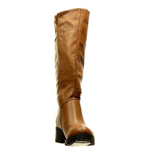 Angkorly - Zapatos Botas De Moda - Botas De Mujer Motorista Cavalier Hebilla De Metal Tacón Alto Bloque 5 Cm Camel