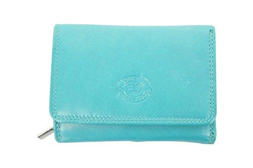 Damen Leder Klein Portmonee/ Portemonnaie Clutch Tasche Von London Leather Goods (Türkis)