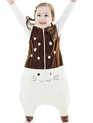 Queque shine sacco a pelo di flanella sacchi nanna con piedini lettino per bambini bambina (marrone, 5-7anni)