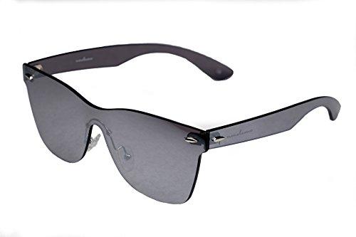 amoloma Rahmenlose Randlose Nur Glas Sonnenbrille Wayfarer Stil silber verspiegelt