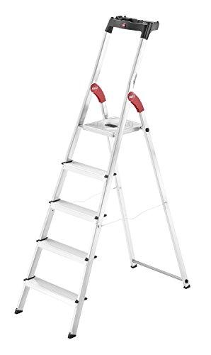 Hailo L60 (8160-507) Alu-Haushaltsleiter, 5 Stufen, EasyClix, Ablageschale, Gelenkschutz, belastbar bis 150 kg