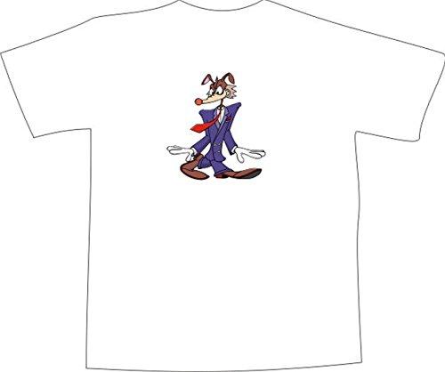 T-Shirt E501 Schönes T-Shirt mit farbigem Brustaufdruck - Logo / Grafik - Comic Design - Business Wolf mit Krawatte Mehrfarbig