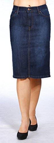 Frauen plus Größen-Denim-Rock Geknöpfter Blau Bleistiftrock 60 cm lang (Pencil-skirt Seam)