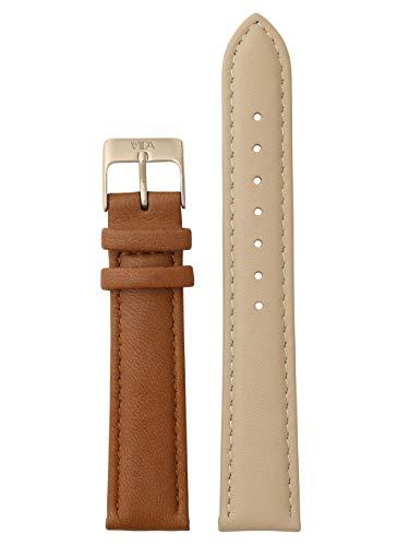 laVIIDA Uhrband LB-SVI2025R Ersatzband Uhrenarmband Leder 18 mm Beige-Braun-Rosé