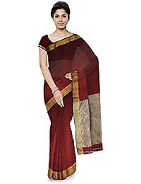 R K Chouhan Maheshwar Maheshwari Handloom Cotton & Silk Saree (Red)