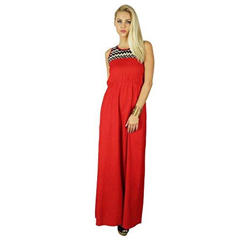 Bimba Femmes Robe Longue Maxi Rouge Cou Brodé À La Mode Chic De Vêtements Personnalisés Rouge