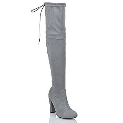 ESSEX GLAM New Womens Thigh HIGH Boots Ladies Over The Knee Stretch Evening Block MID Heel 1