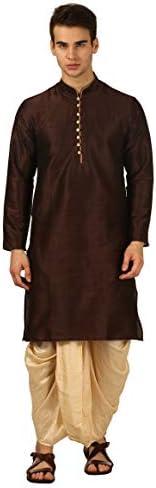 Devyom Men's Silk Straight Regular Fit Dhoti Kurta Set (Br