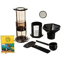 "AeroPress Coffee and Espresso Maker with Bonus Steel Filter and Planet Java ""Restaurant"" Filter Coffee"