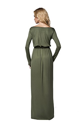 Futuro Mode elegant Imperium Maxi Kleid komplett Länge U-Boot-Ausschnitt langärmlig Cocktail Style offen Halsausschnitt Size 8-18 UK fm08 Khaki