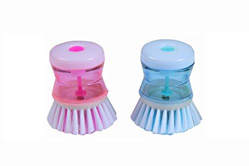 Generic Effect Dish/ Washbasin Plastic Cleaning Brush with Liquid Soap Dispenser - Set of 2