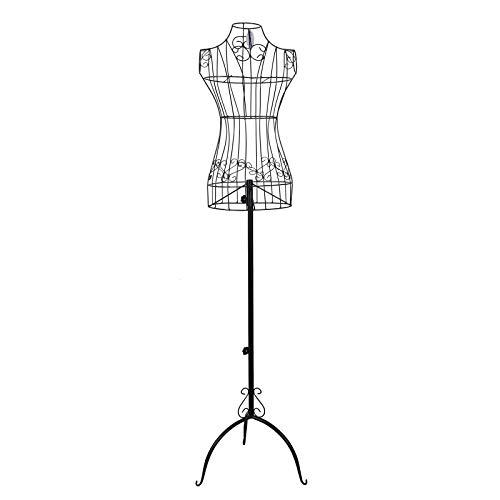 Songmics Maniquí busto femenio de metal Perchero de vestido negro 170 cm HRA10B