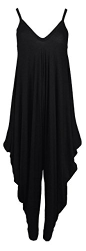 New Womens Plain Ali Baba Harem Suit Cami Strappy Oversized All In One Jumpsuit (M/L-UK12/14, Black)