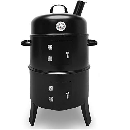 Deuba® 3in1 Räuchergrill und Grillofen | mit Thermometer | Holzkohlegrill BBQ Smoker Rundgrill Räuchertonne Grilltonne -