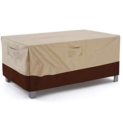GRAFTS rechteckig/ovale Terrassentischabdeckung, strapazierfähig und wasserfest, für den Außenbereich, für Rasen und Terrassen, groß, Grau - grau - Large(72 L x 44 W x 23 H) (Round Table Cover Elastisch)
