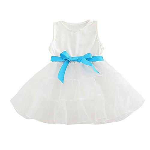 ❤️LILICAT Enfants Infantile Kid Filles Solide Rayé Bowknot Net Fil Princesse  Robe Vêtements 12M- c3224ad3537