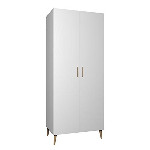 Mirjan24  Drehtürenschrank Bello B1, Kleiderschrank im skandinavischen Stil, Elegantes Schlafzimmer Schrank, Jugendzimmer, Wohnzimmer (Weiß)