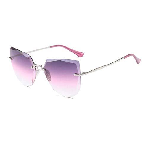 KISlink Damen Sonnenbrille Randlose Autofahrbrille, Mit Verlaufsglas, Spiegel Unpolarisierte Cateye Sonnenbrille UV400 (Farbe: Silber/Violett)