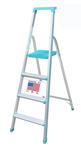 Euro Pro Household Aluminium Step ladder 4 Steps -Made in USA - Folding - Tool Tray - ABS Platform - Ultra Light Weight  available at amazon for Rs.3780