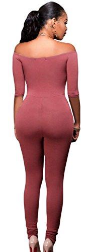 La Vogue Combinaison Épaule Nue Bustier Demi Manche Crayon Jumpsuit Femme Rouge