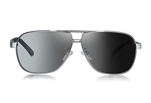 WHCREAT Herren Photochrome Polarisierte Sonnenbrille Pilotenbrille mit Federscharnieren UV400-Schutzglas - Metallic Grau Rahmen