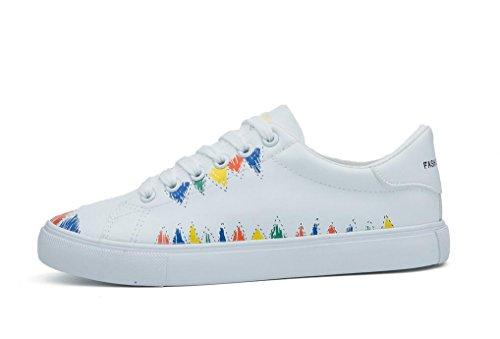 SHFANG Lady Shoes PU Stampa in Pelle Bottoni Subacquei Scarpe Casual Movimento Tempo libero Quattro Stagioni Studenti Scuola Bianco Nero White