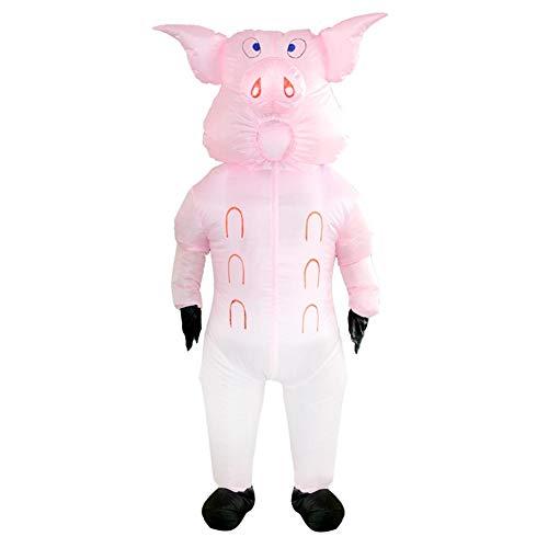 GLOBEAGLE Sü?es aufblasbares Schwein-Kostüm für Erwachsene, Halloween, Festival, Party, Cosplay
