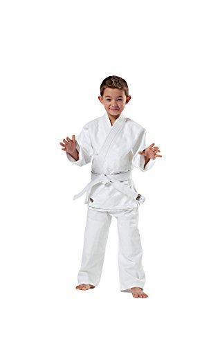 Randori-Traje de Judo, modelo Standart en de ejecución de algodón 100%, blanqueado blanco múltiple para chaqueta y pantalón, reforzada con en los hombros y en el pecho en las rodillas, pantalones con cintura elástica práctico y cinturón blanco schn...