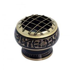 Räucherschale Räuchergefäß Messing Schwarz räuchern mit Kohle 5,5 x 5 cm