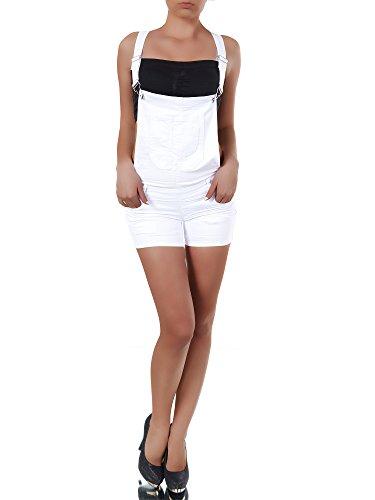 N169 Damen Jeans kurze Hose Damenjeans Hüftjeans Hot Pants Shorts Panty Latzhose, Farben:Weiß;Größen:40 (L) (Nadelstreifen-bermuda-shorts)