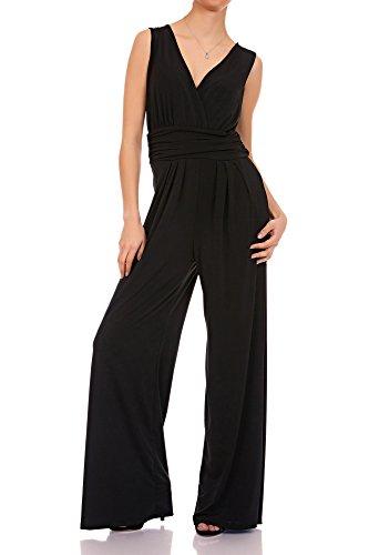 Laeticia Dreams Eleganter Damen Overall Jumpsuit V Ausschnitt S M L XL, Farbe:Schwarz, Größe:38 M
