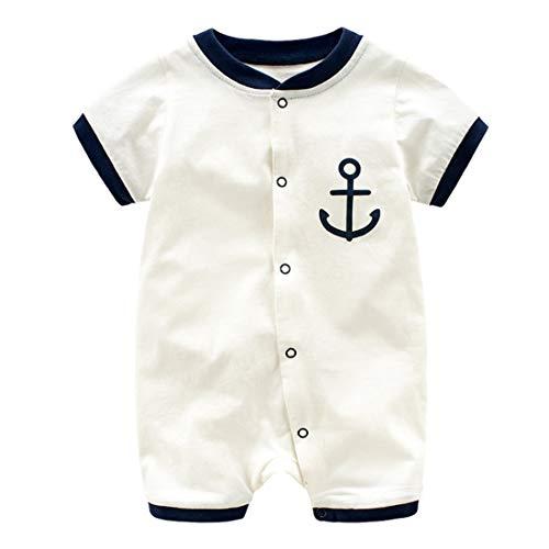Mornyray Infant Baby Jungen Outfit Kurzarm Baumwollspielanzug Sailor nautischen Overall (Color : White, Size : 66)