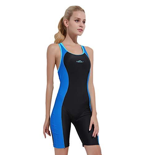 iYmitz Damen Sommer Badeanzug Einteiler Schnelltrocknend Bodysuit Professioneller Sport Frauen Bademode(Blau,M)