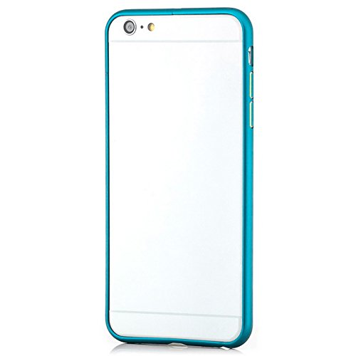 Saxonia Custodia + 2x Vetro Temperato Apple iPhone SE 5 5S Ultra Slim Custodia di alluminio Case Cover Slim Bumper Telaio del Respingente Antiurto | Alta Qualità di Protezione Sottile e Elegante Desig Blu Chiaro