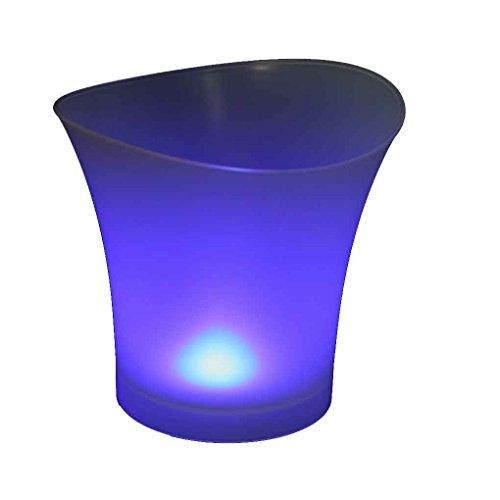 QHGstore Wasserdichte Plastik LED Eis-Eimer 5L Farbe ändernde Bars Nachtclubs Champagner-Bier-Eimer blau