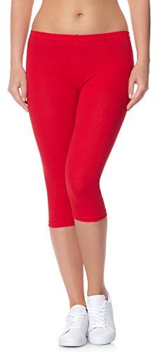 Ladeheid Damen Leggings 3/4 LAMA01 (Rot18, 4XL/5XL (Herstellergröße: 48/50)) (Leggings Capri Print)
