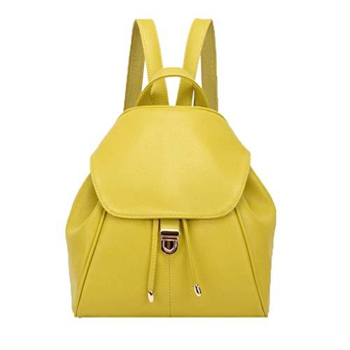 YX Damen Rucksack Damen Leder Rucksack Leder Schule Daypacks Leicht Cityrucksack Elegant Schulrucksack Frauen Mini Backpack Einfach Schultasche (Gelb)