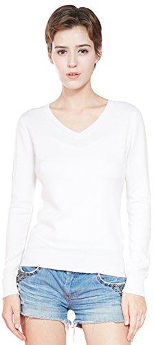 93d03197b563 LongMing 100% Kaschmir Pullover for Damen Winter Warm Lange Ärmel V- Ausschnitt Slim Swaeter